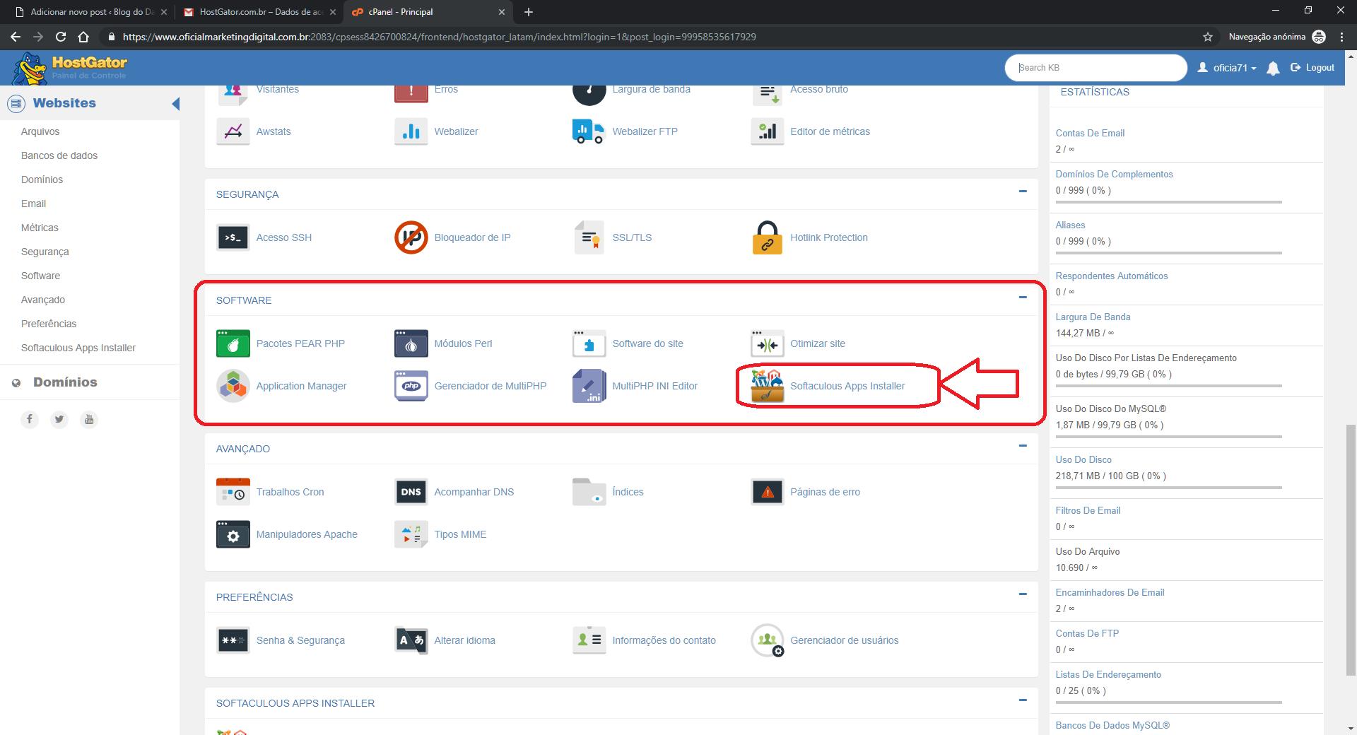 Software de instalação do host Cpanel
