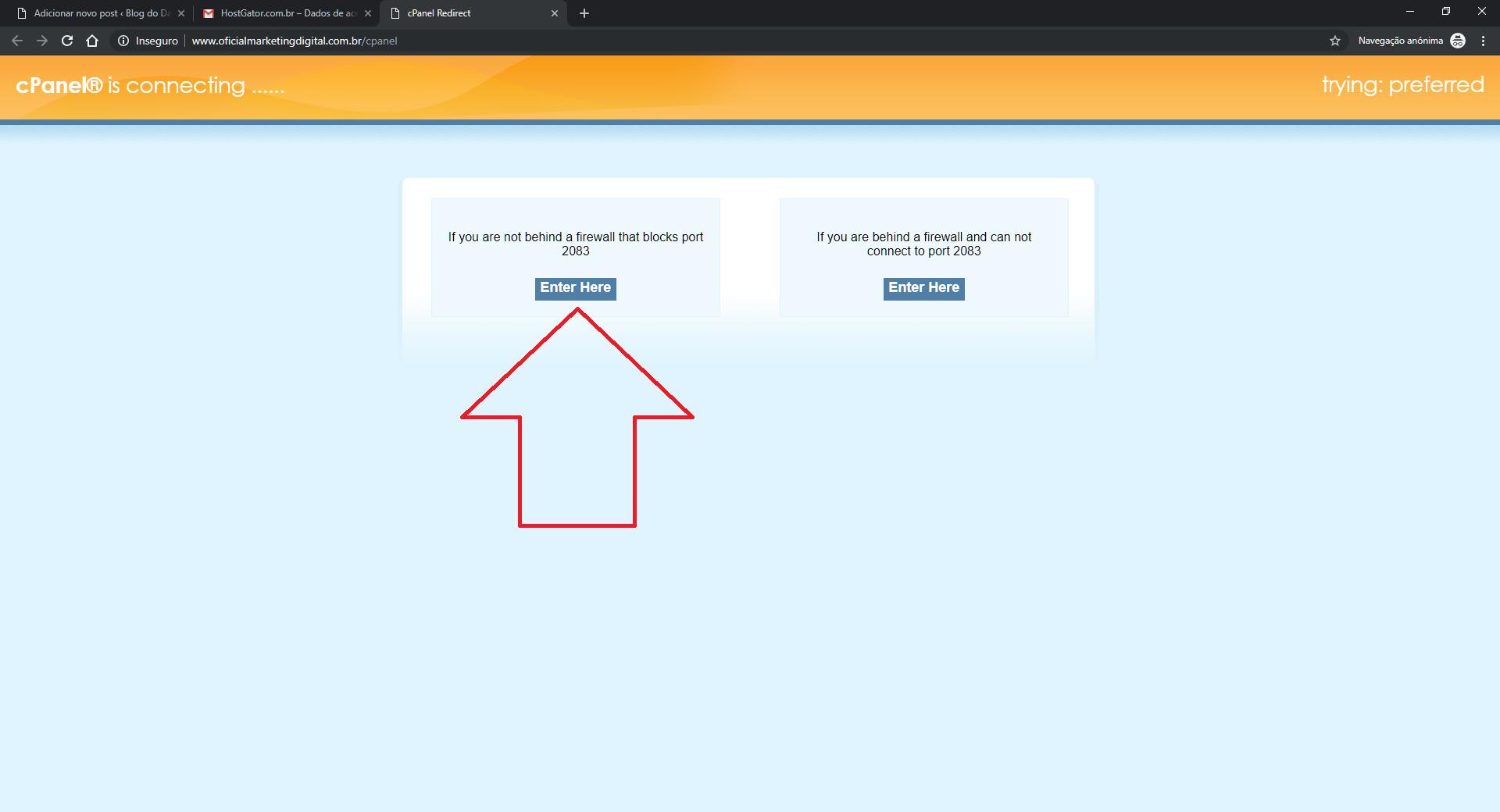 Redirecionar acesso ao host do host