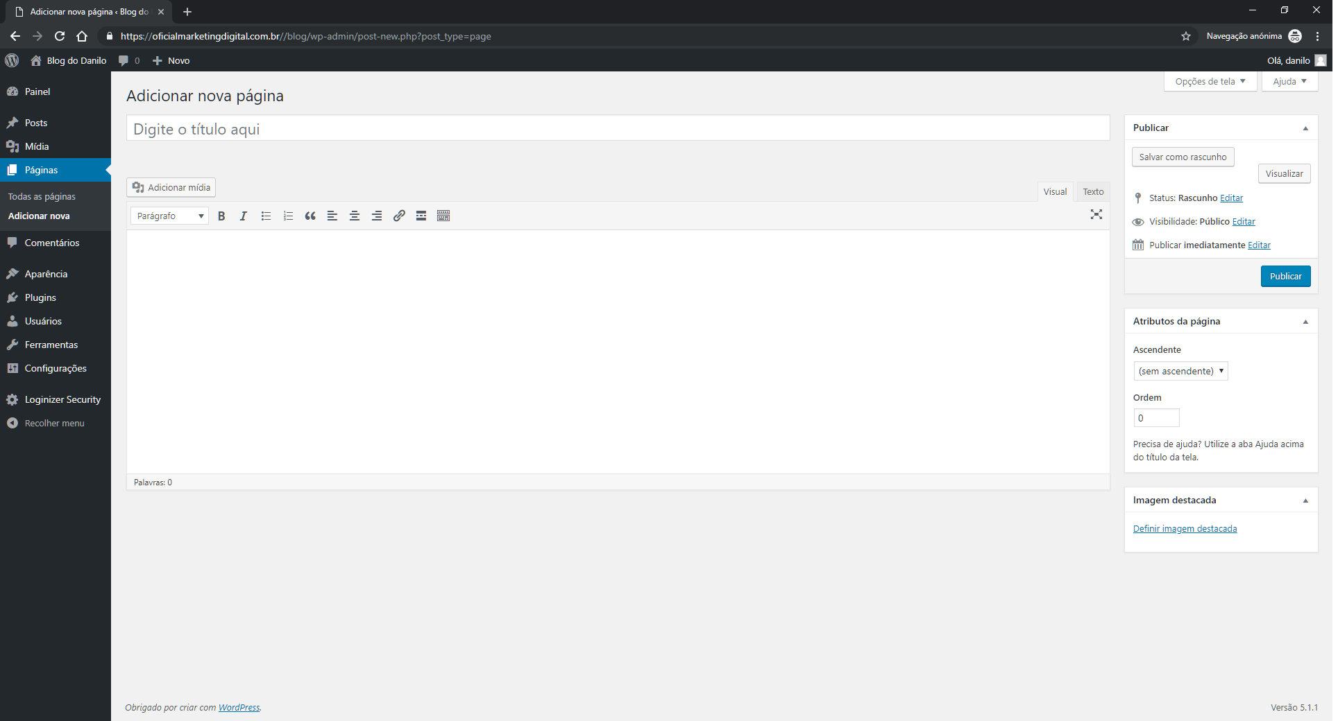 WordPress Adicionar nova página