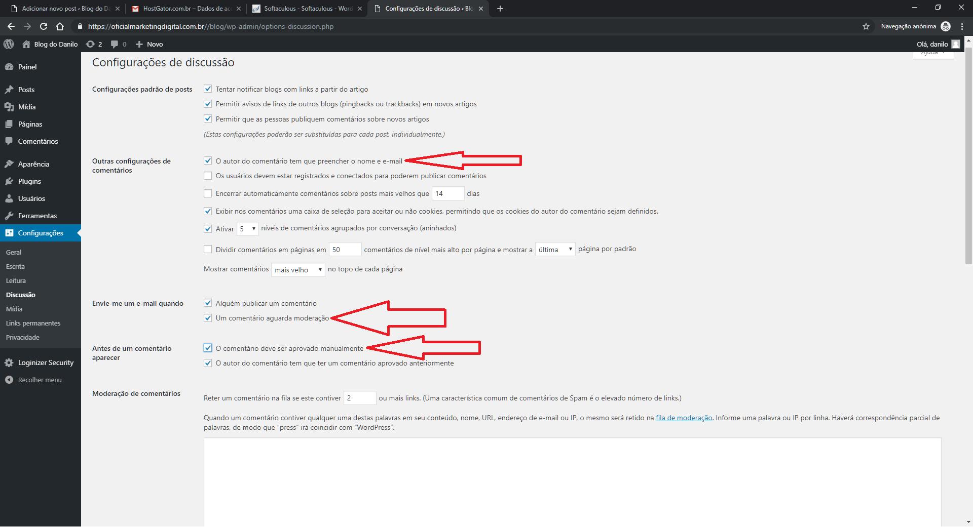 Discussão sobre configurações do WordPress