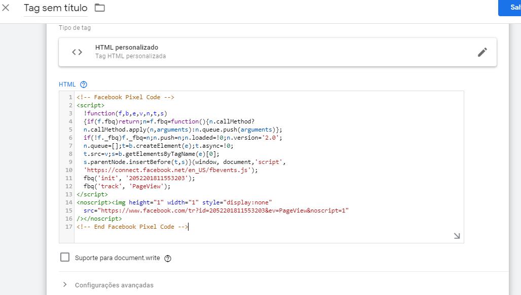 instalar código de pixel facebook 3