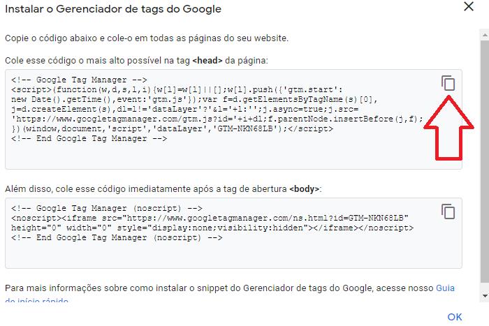 Copiar gerenciador de tags de código